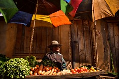 Vege Stall (Rod Waddington) Tags: africa afrique madagascar malagasy vegetables umbrella umbrellas stall market streetphotography street carrots tomatoes woman outdoor people candid