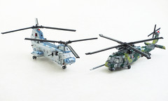 CH-46E Sea Knight and HH-60G Pave Hawk (Mad physicist) Tags: lego helicopter pavehawk usaf hh60g seaknight usmc ch46e military