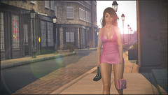 The 6am 'Walk of Shame' (Simone Landers - SL Model & Actress) Tags: secondlife sl sunrise avatar australian actress morning model me embarrassed trouble urban pinup girl pink dress ooops omg funny heals her used naughty night