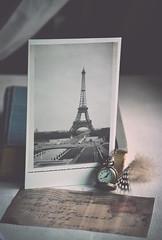 D.R.E.A.M (Ayeshadows) Tags: eiffel tower paris dream travel vintage pocketwatch fowlfeather oldbook oldletter photoprint