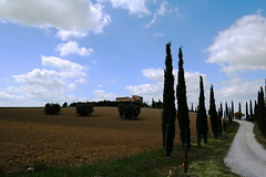 Lovely view (LaDani74) Tags: tuscany valdorcia sanquiricodorcia siena countryside nature house stone hill meadow cypress path italy spring bush clouds sky