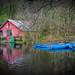 Boating depot (esslingerphoto.com✈ (Off to Poland, NYC, Corfu)) Tags: boathouse boats boat building boating wales bay blueboat barn abandon fallingdown peaceful uk