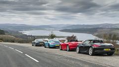 Struie Hill 1407 (syf22) Tags: scotland nc500 northcoast500 car automobile motor porsche sportcar flatsix auto struiehillviewpoint b9176 dornochfirth colourful red boxster cayman 997 911 cadhamòr