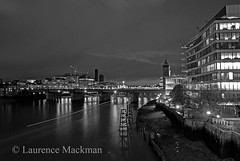 LondonBridge 042 E W BW (laurencemackman) Tags: lighting longexposure bridge england london cars architecture modern night reflections londonbridge concrete photography lights twilight traffic piers architect historical elevation riverthames span streamline londonskyline theshard motthayandanderson lordholford