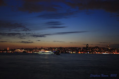 The skyline of European Istanbul (Stephan Neven) Tags: blue sky skyline night turkey europe turkiye istanbul hour bosphorus