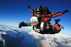 Korean customer over snowy Queenstown (NZONE Skydive) Tags: newzealand skydiving southisland queenstown skydive parachuting parachute freefall tandemskydive tandemskydiving freefalling