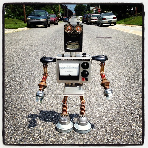 Found Object Robot Assemblage Sculpture By Brian Marshall