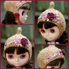 The Folklore Tonttu Helmet: A Perfect Vintage (Euro_Trash) Tags: website embroidered eurotrash winered handfelted pinkembroidery tonttuhelmet handmadeforblythe feltrose mutedpeach