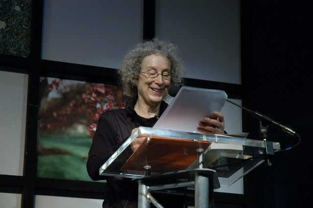 Margaret Atwood reading on stage
