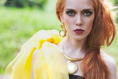 Maria, July 2013 (AGalkina) Tags: red summer portrait girl face fashion yellow gold photo amazing model women dress russia redhair annagalkina