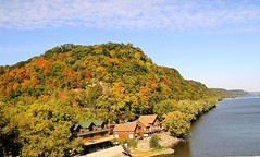 Mississippi River at Marquette (lindapp57) Tags: fallfoliage mississippiriver marquetteiowa neiowa