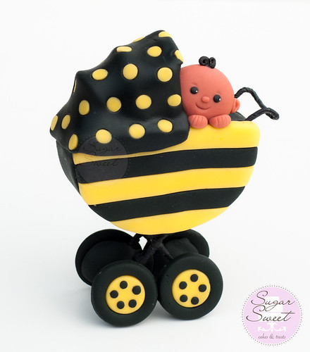 Bumble Bee Baby Stroller Cake Topper