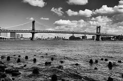 Manhattan Bridge #5 (The West Back Line) Tags: nyc newyorkcity bridge bw newyork zeiss blackwhite sony bridges brooklynbridge manhattanbridge nex nex6 zeiss24mm