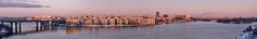 Inner city islands panorama (Storkholm Photography) Tags: city bridge blue winter sunset panorama lake snow reflection ice water skyline 50mm evening bay nikon europe sweden stockholm riddarfjrden lightroom mlaren essingen d7000 5mmf14 vision:sunset=0737 vision:clouds=0532 vision:outdoor=0873 vision:sky=0899 vision:street=0591