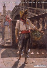 Romualdo Prati Pescatore al ponte di Rialto olio su tela 200x140cm MART