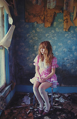 (yyellowbird) Tags: wallpaper house selfportrait abandoned girl illinois gingham lolita cari
