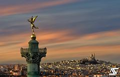 Gnie de la Bastille @ Sunset (A.G. Photographe) Tags: sunset paris france french nikon montmartre sacrcoeur ag nikkor dri franais hdr parisian goldenhour anto d800 basilique xiii parisien colonnedejuillet gniedelabastille antoxiii 70200vrii agphotographe