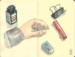 Sketching tools (Aurelie Morin) Tags: stilllife moleskine pen ink watercolor sketch drawing aquarelle sketchbook dessin sketchkit