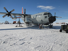 LC-130 gets jacked (New York National Guard) Tags: antarctica repairs 109thairliftwing newyorkairnationalguard