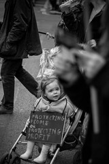 (cjannonephoto) Tags: blackandwhite london sign march child innocent protest anonymous