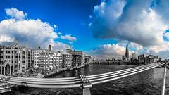 View from Millenium Bridge (FabianJansen) Tags: city bridge england sky colour london tower monochrome clouds britain united capital kingdom millennium shard selective