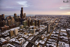 Chicago by Helicopter - January 2014, Chicago Helicopter Tours (RickDrew) Tags: city winter snow cold ice skyline illinois midwest tour aerial il helicopter metropolis icy byair chetourscom