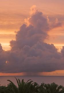 Rain cloud at sunset