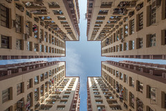Hong Kong (gstads) Tags: architecture hongkong lines highrise line pattern patterns geometry china building courtyard repetition dense density symmetry square flat flats apartment apartments block city urban cityblock