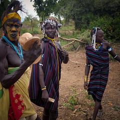 Mursi Tribe (Rod Waddington) Tags: africa african afrika afrique äthiopien ethiopia ethiopian ethnic etiopia ethnicity ethiopie etiopian omo omovalley outdoor people mursi tribe traditional tribal village mago scarification costume group warrior women