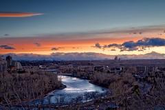 Exposure YYC skyline sunset (John Andersen (JPAndersen images)) Tags: bowriver calgary calm city cloudy log reflections skyline still sunset