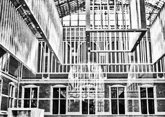 Cage? (Rijksmuseum Amsterdam) (PaulHoo) Tags: film analog amsterdam rollei 35 city urban rijksmuseum architecture bw blackandwhite monochrome cage window line texture pattern interior holland netherlands ceiling museum