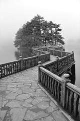 Zig Zag (Jane Inman Stormer) Tags: blackandwhite bridge island park china stone trees fog moody mountlu worldheritagesite pine line lake explore explored