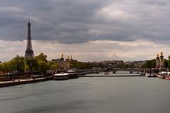 Eiffel Tower (Sarah Marston) Tags: paris eiffeltower seine bridge tower landmark boat longexposure river clouds sony a6300 april 2017