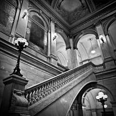 Annex Interior (tim.perdue) Tags: instagramapp square squareformat iphoneography uploaded:by=instagram annex interior statehouse columbus ohio architecture design neoclassical black white bw monochrome instagram staircase railing arch mural lamp angle curve stone marble limestone
