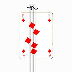 five of diamonds (brescia, italy) (bloodybee) Tags: 365project playingcards cards play game 5 five diamond pentagram notes clef music humor fun stilllife white red square