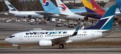 Boeing 737-7CT C-GWSN (707-348C) Tags: losangeles thehill lax klax westjet cgwsn wja boeing737 b737 airliner jetliner boeing california passenger