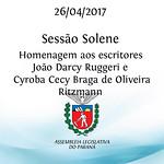 Sessão Solene em Homenagem aos escritores João Darcy Ruggeri e Cyroba Cecy Braga de Oliveira Ritzmann