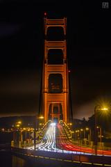 Golden Gate Bridge - Light Trails (lycheng99) Tags: lights lighttrails trafficlighttrails trafficlight ggbridge gg goldengatebridge bridges sfbayarea sf sanfrancisco sanfranciscobayarea sanfranciscotravel sanfranciscobridges nightphotography night longexposure red