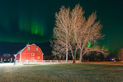 Adventures in life-70-2 (Ken Wiebe) Tags: april april2017 aurora auroraborealis barn green hilliersresvoir northernlights purple red spring trees