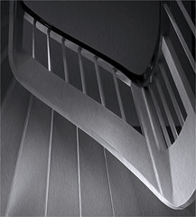Stairway to abstraction (artspics_1) Tags: stairs bw blackandwhite grey art steps treads risers banisters string handrail textured lines verticals