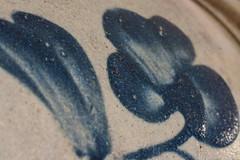 Glaze (ertolima) Tags: macromondays glaze pottery hmm crock blue vintage rustic