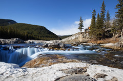 Elbow Falls Melt (Canon Queen Rocks (1,340,000 + views)) Tags: elbowfalls water waterfalls sky scenery scenic landscape landscapes outdoors alberta kananaskis braggcreek trees rocks river snow ice