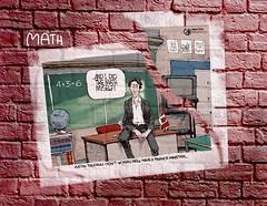 Trudeau finances (Mel_DJ) Tags: mathematics trudeaumania finance politics graffiti poster posterboy canada cartoon brickwall bricks wall funny