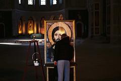 (Nothing is surrender) Tags: man church ikona icon svetasava kiss serbia srbija nikonf90 nikon f90