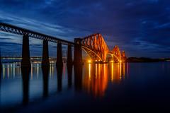 The Forth Rail Bridge (AdeRussell) Tags: night scotland travel bridges reflections railway firthofforth queensferry forthrailbridge bridge unitedkingdom gb