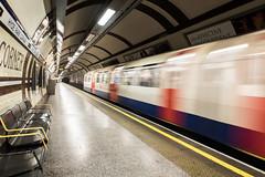 Mind The Gap (John Pettigrew) Tags: tamron d750 nikon metro bench corner holiday lights shadows hyde underground london blur deserted train tube movement railway 2017 2470mm park april