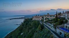 Mt. Etna at sunset from Taormina (Andrea Rapisarda) Tags: taormina naxos view panorama etna paesaggio landscape sicilia sicily sony 16mm 169 sunset tramonto ©allrightsreserved seascape mare sea