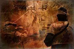 Balinese Ngaben (scinta1) Tags: kintamani bali kedisan cremation ceremony ngaben mask barong tower orange manipulation filter people man back watching
