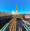 Molde rådhus and Cathedral (creditflats) Tags: molde norway cathedral cityhall radhus modern architecture olympus pen ep5 nik samyang 75mm fisheye clear blue spring port rokinon reflections shadows sunlight sky