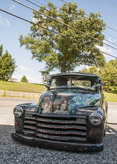 All My Friends Own a Lowrider (trainmann1) Tags: nikon nikkor amateur handheld westvirginia wv september summer 2016 d90 ratrod hotrod musclecar truck poncholeftys tree green blue clouds sky road gravel sexy